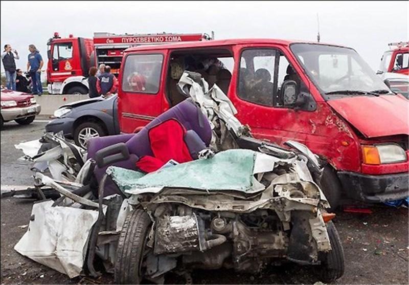 تصادف زنجیره ای مرگبار در یونان