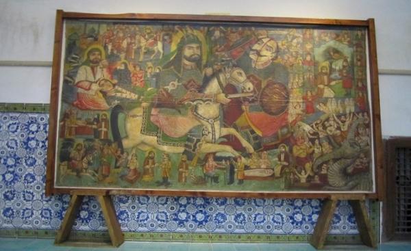 از جوانمرد قصاب تا خیمه دارالحرب در پرده نقاشی قهوه خانه ای موزه گرمابه پهنه سمنان